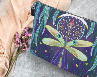 Waters of Fortune Zipper Canvas Pouch | Dragonfly Gifts | Cottagecore Gift | Cottage Wicca | Tarot Crystal Bag | The Green Witch Purse