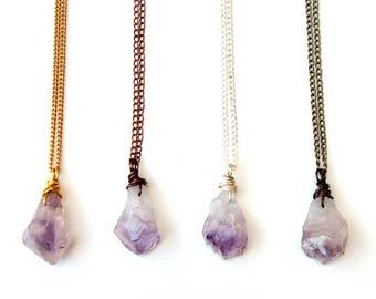 raw amethyst necklace, amethyst necklace, raw stone necklace, crystal necklace, amethyst pendant, raw amethyst, amethyst jewelry, amethyst