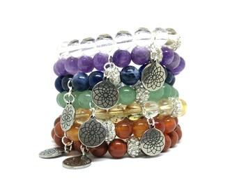 chakra bracelet set, chakra bracelets, chakra jewelry, chakra stones, chakra beads, chakra healing, chakra balancing, seven chakras