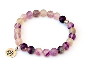 fluorite bracelet, study bracelet, truthfulness, stabilizing bracelet, meditation bracelet, lotus bracelet, healing bracelet, yoga bracelet