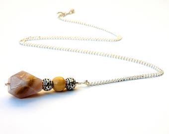 Bamboo leaf Agate necklace, agate necklace, agate pendant, gemstone necklace, boho necklace, agate jewelry, crystal necklace, agate