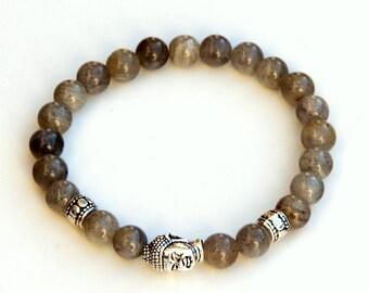 Labradorite bracelet, transformation bracelet, healing bracelet, Buddha bracelet, yoga bracelet, labradorite wrist mala, spiritual intuition