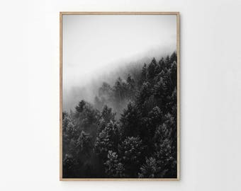Foggy Mountains No. 1 - Black and White Abstract Art - Home Decor - Monochrome Home - Scandi Style