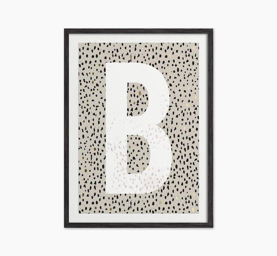 Letter Art Print.Abstract Dotty Letter Art Print With Real Gold Leaf Type Print Big Letter Print Animal Print Letter Initial Print Kids Wall Art