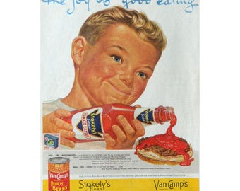 Boy with Ketchup - Stokely's Ad - 1950's Vintage Food Advertising - Kitchen Wall Art Decor