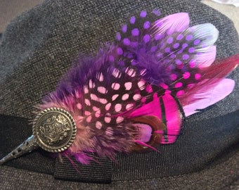 feather hat pin trilby fedora pink purple brooch pin