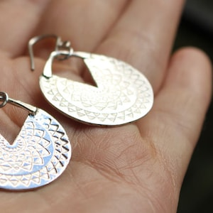 mandala earrings triangle earrings INCA SUN etched sterling silver sun earrings hoop earrings zen tribal ethnic boho flower
