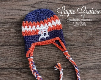 Woman/'s Tigers Inspired Handmade Crochet Beanie Hat With Patch  1960 Vintage Patch  Major League Baseball