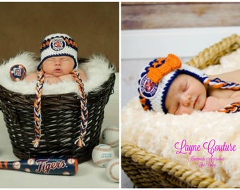 fa6c919aa52 Handmade Newborn Detroit Tigers Inspired Baby Earflap Crochet Hat with Bow  Option   MLB Baby   Photo Prop   Custom Made
