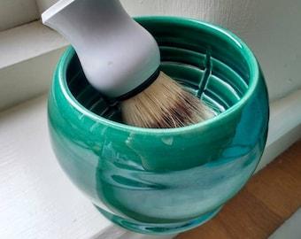 Pottery Shaving Bowl - Handmade UK -Shaving Accessories - Ceramic Shaving Mug - Shaving Cup - Gifts for Men - Glossy Bottle Green