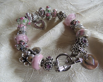 LOVE BIRDS...Silver Charm Bracelet With European Beads... by TLCcharms