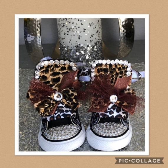 Leopard Bling Converse Sneakers Animal Print Converse  d1a68b865