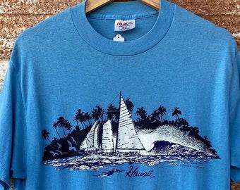 Vintage 1980's Hawaii Souvenir Single Stitch T-shirts, Palm Tree, Ocean