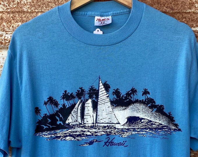 Vintage 1980's Hawaii Souvenir Single Stitch T-shirts, Palm Tree, Ocean