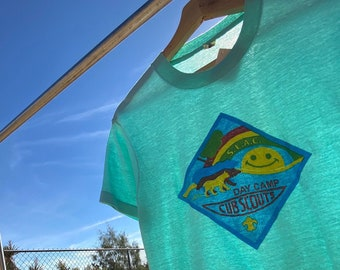 Vintage 1970's Day Camp Cub Scout T-shirts, Smile Sunset, Rainbow