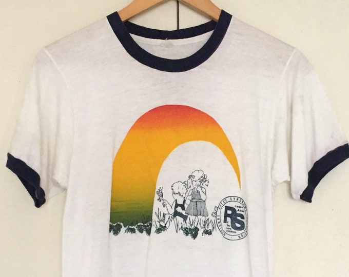 Vintage 70s  ringer T-shirts, children,reinbow,Illustration