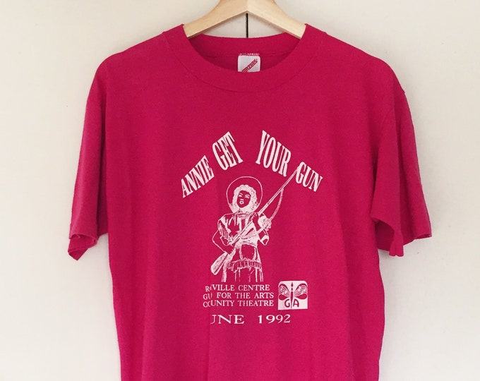 Vintage Soft T-shirts,Tee,Annie get your gun,Pink,90s,Single Stitch,Musical