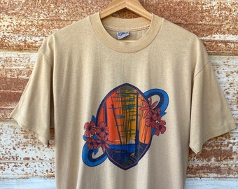 Vintage 1980's Resort Sunset T-shirts, Tropical Flower