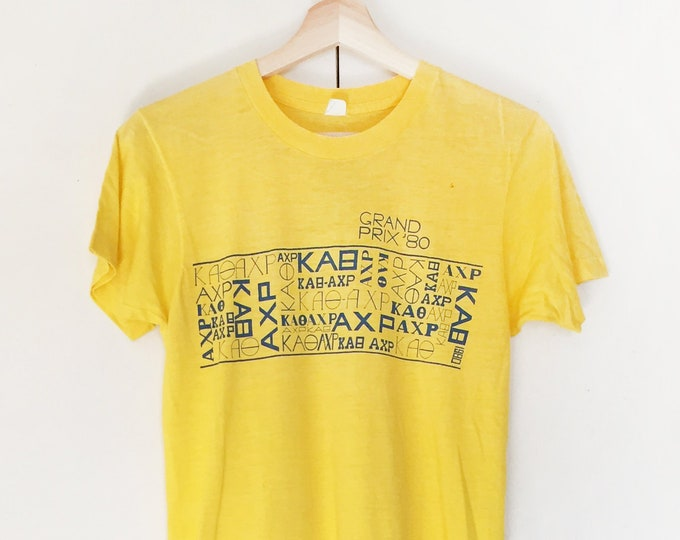 Vintage Soft T-shirts,Tee,Single stitch,yellow,50/50,Grand Prix 80