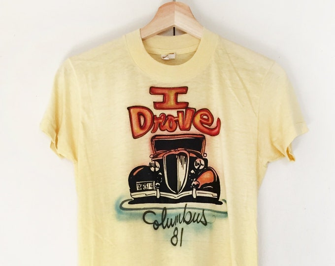 Vintage Soft T-shirts,Tee,Single stitch,yellow,spray painted shirts,car