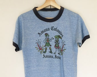 Vintage soft heather blue T-shirts,Tee,blue,melange,Ringer T-shirts,heather,mixture