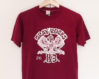 Vintage Soft T-shirts,Tee,Dark Red,Soft ball,80s