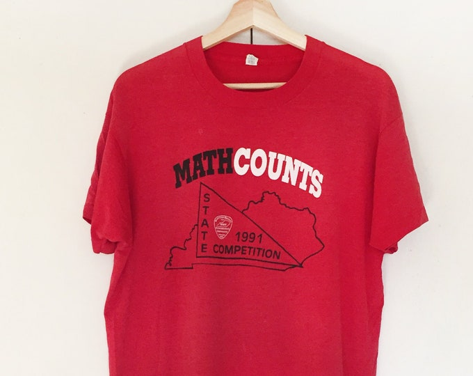 Vintage Soft T-shirts,Tee,Math counts,1991,Red,paper thin,Single stitch,Screen star
