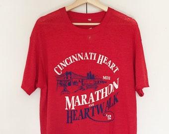 Vintage Soft T-shirts,Tee,running,Marathon,1992,Red,paper thin,Single stitch