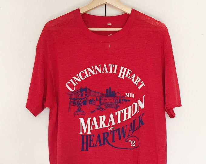 Vintage Soft T-shirts,Tee,running,Marathon,1992,Red,paper thin,Single stitch