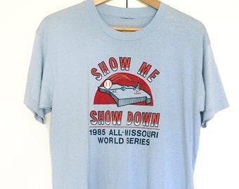 Vintage soft T-shirts,blue,baseball