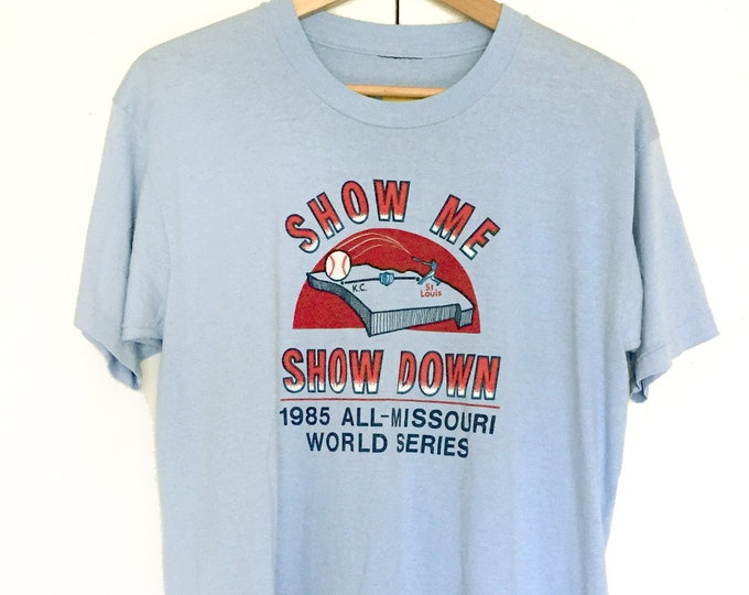 Vintage soft T-shirts,blue,baseball