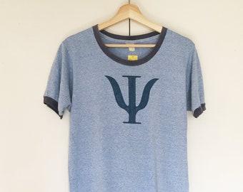 Vintage soft heather blue T-shirts,Tee,blue,melange,hand drawing,logo