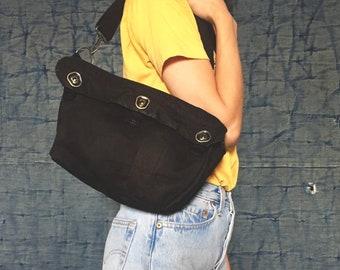 Repurposed  3Way Vintage military Bag,Black,,Shoulder Bag,Messenger bag,Hip bag,Military Bag,Upcycling