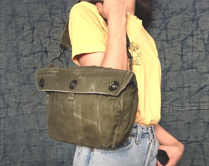 Repurposed  3Way Vintage military Bag,Shoulder Bag,Messenger bag,Hip bag,Military Bag,Khaki,Upcycling