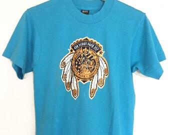 Vintage soft T-shirts,blue,logo