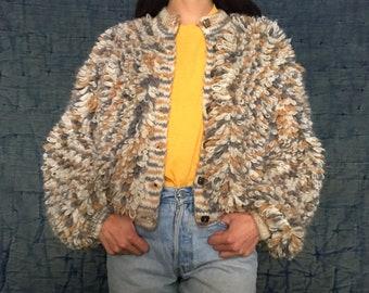 Vintage loop knitted jacket,gorgeous,knitwear,Textured Shag Loop,Cardigan Jacket