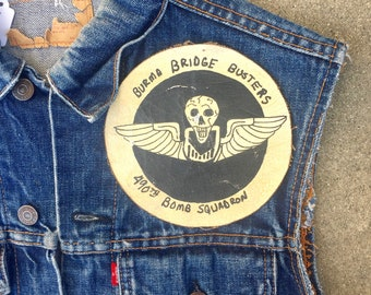 50's 60's Vintage WW2 Squadron Canvas Skull Patch for movie, hand painted