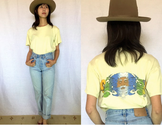 70's Vintage Pale Yellow 100%Soft Cotton T-shirts, Phychedelic Art