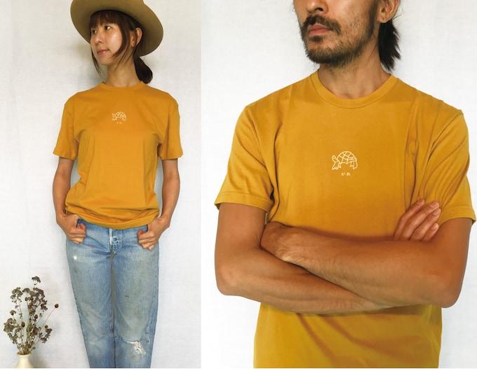Utori Original Soft Cotton  Unisex T-shirts, Mustard, Turtle,Japanese, Calligraphy,