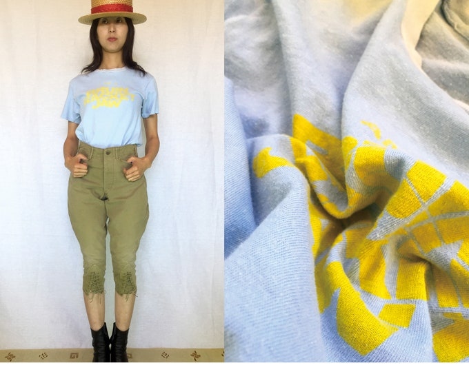 80's Vintage light steel blue 100% Soft Cotton T-shirts, Yellow Logo,Hanes