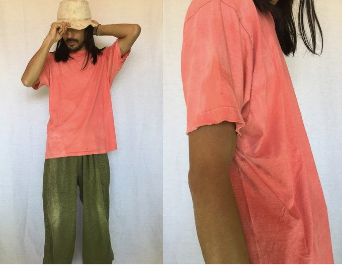 Vintage Plane Salmon Pink Soft Cotton T-shirts,Destroyed,Blank Tee,Faded color