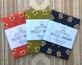 UTORI Soft & Comfy Paisley Bandana, Made in USA, For her, For him