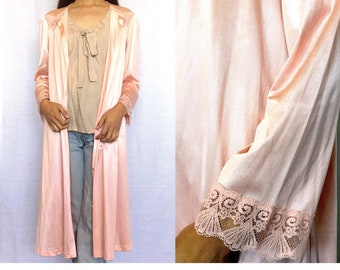 Vintage Pink Silky Robe, gown,Lace,