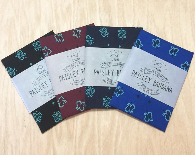 UTORI Soft & Comfy Paisley Bandana, Made in USA limited colors