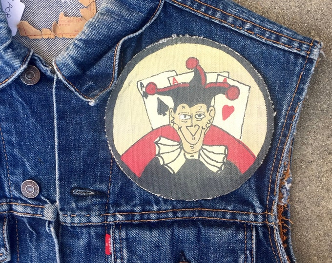 50's 60's Vintage WW2 Squadron Canvas devil Patch for movie, hand painted