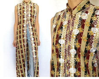 Vintage Ethnic Brown Long Dress, Embroidered,No Collared