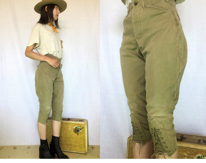 Vintage Boy Scouts Tie up pants, Military green,Olive green