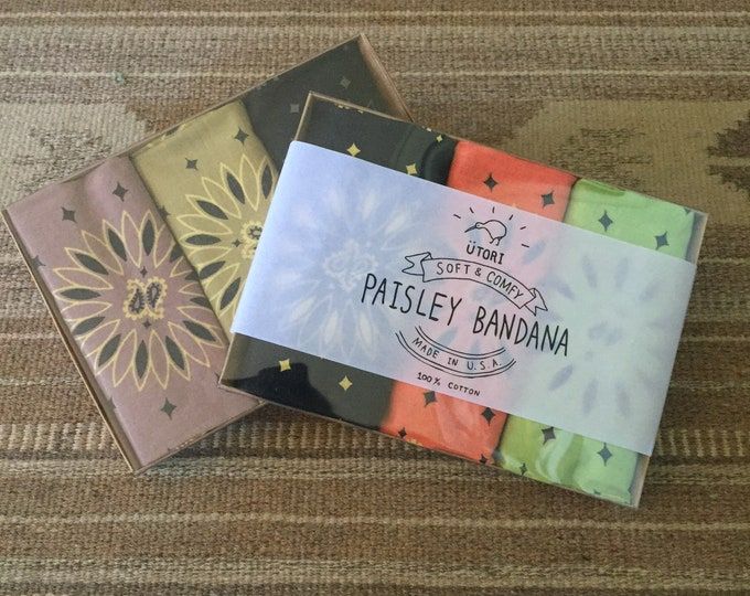 UTORI Soft & Comfy Paisley 3 Bandana Box Gift SET, Made in USA, For Her, For Him