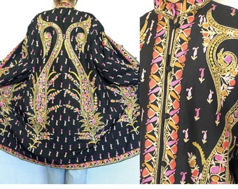 Vintage Ethnic Embroidered  Black Long Coat, Ethnic,Tunic,Gown, Paisley