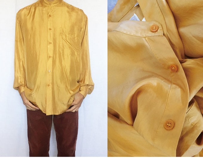Vintage Unisex Silk Shirts, Yellow, Mustard, Gold,100silk, for women, for men